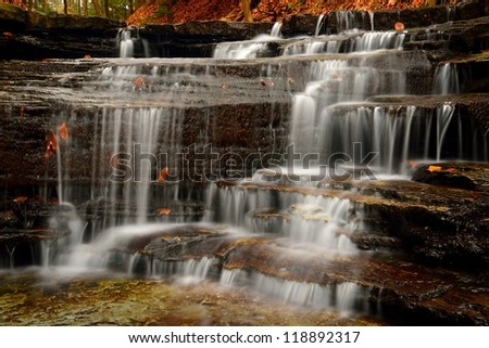 Harrigan's Falls Waterfall in Emery Park in Fall - Autumn