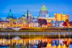Harrisburg, Pennsylvania, USA downtown city skyline on the Susquehanna River.