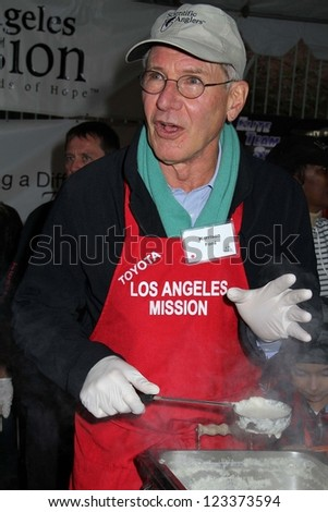 Harrison Ford at the Los Angeles Mission Christmas Eve For The Homeless, Los Angeles Mission, Los Angeles, CA 12-24-12
