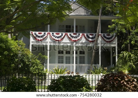 Harry Truman's Little White House in Key West, Florida on a sunny summer day.
