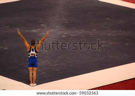 HARTFORD; CT - AUGUST 13: Gymnast Danell Leyva performs on floor exercise during the men\'s competition at the VISA Gymnastics Championships in on August 13, 2010 in Hartford, CT.
