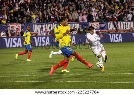 HARTFORD - OCTOBER 10: Action in the International Friendly match between US Men`s National Team vs Ecuador, final score 1 - 1, on October 10, 2014, in Rentschler Field stadium, Hartford, USA.