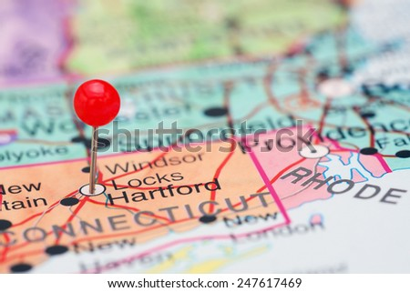 Hartford pinned on a map of USA