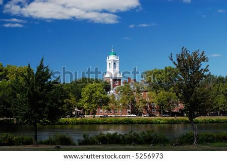 Harvard University Elliot House from across Charles River
