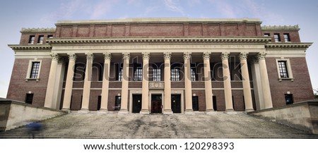 Harvard University Library. Success in education and tourist attraction in Cambridge, Massachusetts, USA