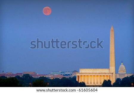 Harvest moon over Washington, DC, with Lincoln Memorial, Capitol and Washington Monument