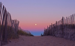 Harvest Moonrise at Sunset on New Hampshire Coast, Boardwalk to the Beach