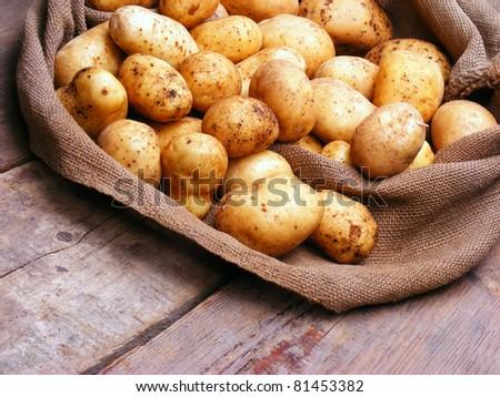Harvest potatoes in burlap sack on wooden background