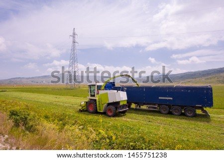 harvest time - combine machine loading harvested grain into the bunker of the truck #1455751238