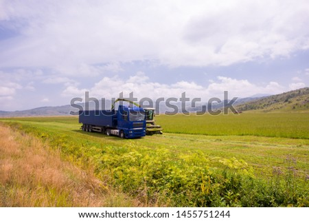 harvest time - combine machine loading harvested grain into the bunker of the truck #1455751244