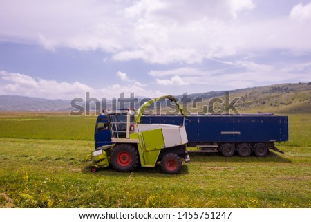 harvest time - combine machine loading harvested grain into the bunker of the truck #1455751247