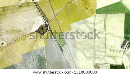 Harvest, tribute to Picasso, abstract photography of the Spain fields from the air, aerial view, representation of human labor camps, abstract art,