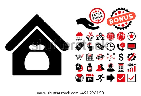 Harvest Warehouse icon with bonus design elements. Glyph illustration style is flat iconic bicolor symbols, intensive red and black colors, white background.