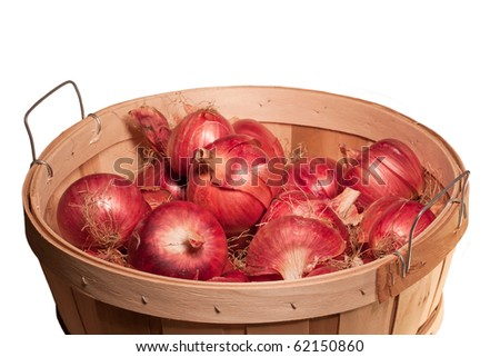 harvested red onions in bushel basket