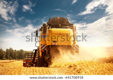 harvester on work with straw dust in air