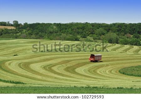 Harvesting alfalfa in rural Wisconsin
