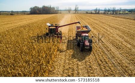 Harvesting corn in autumn Aerial skyline shot ストックフォト ©