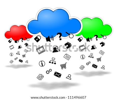 Harvesting data clouds computing competition concept illustration