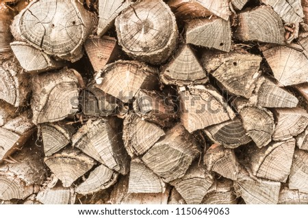 Harvesting of firewood. Brown wooden background #1150649063