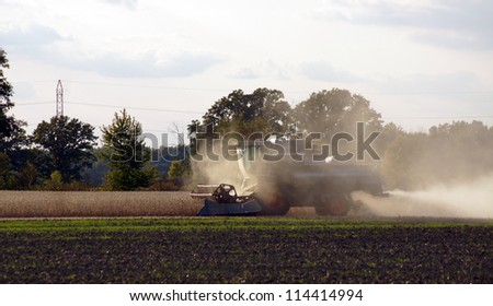 Harvesting the soybeans