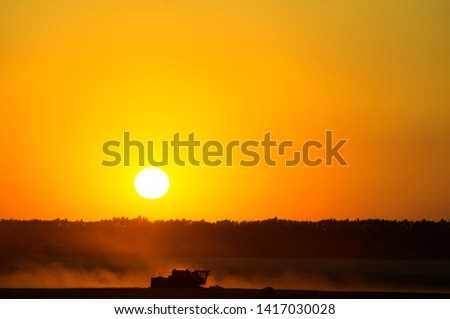 Harvesting Wheat Harvester. The crop collects grain crops on the background of a large red sunset sun, fields from the ground, black soil.