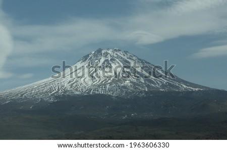 Hasandağı or Mount Hasan is a volcanic mountain with a peak of 3268 meters above sea level. It has two big crater, Big Hasan and Küçük Hasan Mountain.  Stok fotoğraf ©