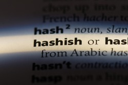 hashish word in a dictionary. hashish concept.
