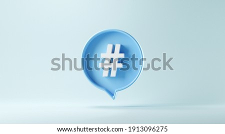 Hashtag sign symbol in social media notification icon on pastel blue background, copy space. 3d render.