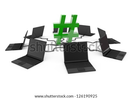Hashtag Social Network with laptop computer - green -