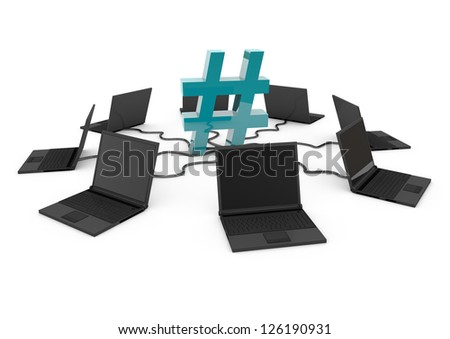 Hashtag Social Network with laptop computer - turquoise -