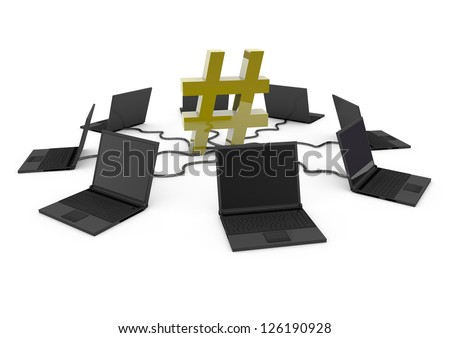 Hashtag Social Network with laptop computer - yellow -