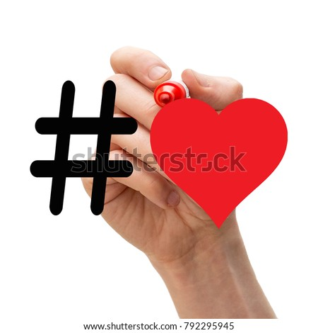 Hashtag with a heart symbol drawn with red marker pen. Concept. Stockfoto ©