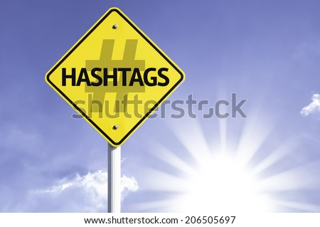 Hashtags road sign with sun background