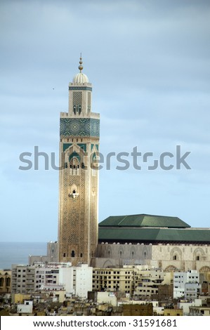 Hassan II mosque overlooking the Atlantic Ocean in Casablanca Morocco Africa which is the largest mosque in Morocco and the third largest mosque in the world