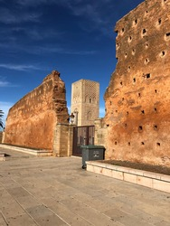 Hassan Tower in the square with stone columns. Red sandstone, important historical and tourist complex in Rabat, Morocco