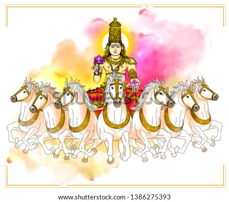 Hasta – Savitar: Image of Savitar, the presiding deity of Hasta Nakshatra. Holding a lotus in his right hand, he rides a chariot driven by 7 horses Foto stock ©