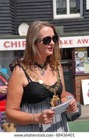 HASTINGS, ENGLAND - JULY 30: Cllr. Kim Forward, Mayor of Hastings, attends the launch of the Old Town Carnival Week on July 30, 2011 in Hastings, East Sussex, England. The carnival was founded in 1968.