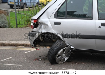HASTINGS, ENGLAND - NOVEMBER 14: A Ford Fiesta car damaged after a collision to the rear on November 14, 2011 in Hastings.  In 2010 the AA reported the largest ever annual rise in insurance premiums.