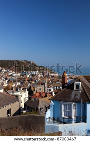 Hastings fishing village, view of the old town. seaside holiday resort in east sussex in United Kingdom. cityscape with english houses