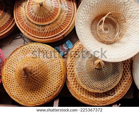 hat display on Asian street