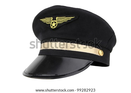 hat of airline pilots with gold insignia, isolated on a white background