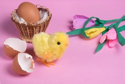 Hatched toy easter chick and hatch egg on pink background. Copyspace