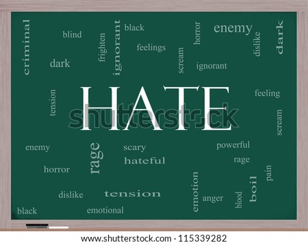 Hate Word Cloud Concept on a Blackboard with great terms such as dark, ignorant, feelings, dislike and more.