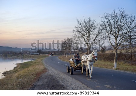 """HATEG, ROMANIA - OCTOBER 25: Man driving horse cart by the country road on October 25, 2011 in Hateg, Romania.The Romanian government claims that """"10% of road accidents are caused by horse carts."""""""