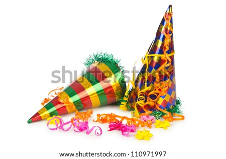Hats streamers and other stuff for party - stock photo