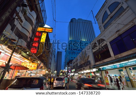 HATYAI, THAILAND - JULY 21:  Night cityscape of hatyai famous place for tourist for dining and shopping on July 21, 2013 in Hatyai songkla, Thailand.