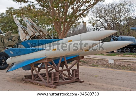 HATZERIM, ISRAEL - JANUARY 02:  Raytheon MIM-23 Hawk surface-to-air missiles are displayed in Israeli Air Force Museum on January 02, 2012 in Hatzerim, Israel