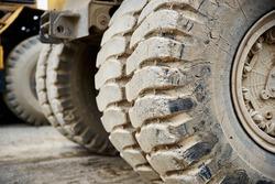 Haul dump truck tyre tire close up