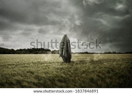 Haunted and bleak landscape with a floating spirit ghost, Disturbing concept. Foto stock ©