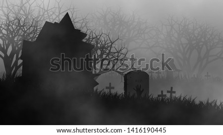 Haunted house of zombie in creepy forest on graveyard in scary time illustration concept design background for Halloween celebration.